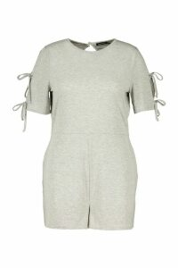 Womens Plus Jersey Short Sleeve Playsuit - Grey - 28, Grey