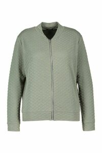 Womens Plus Quilted Sweat Zip Through Bomber - Green - 18, Green