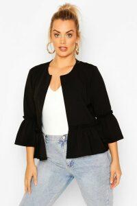 Womens Plus Ruffle Collarless Blazer - Black - 28, Black