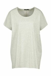 Womens Basic Oversized Cap Sleeve Top - Grey - 16, Grey