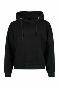 Womens Seam Detail Hoody - Black - 14, Black