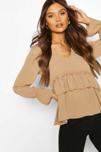 Womens Woven Ruffle Retail Smock Top - beige - 8, Beige