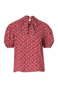 Womens Puff Sleeve Pussybow Blouse - red - 14, Red
