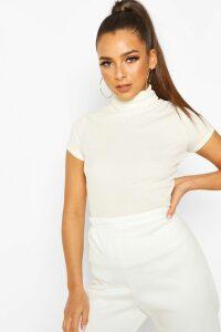 Womens Rib Roll Neck Cap Sleeve Top - Cream - 16, Cream
