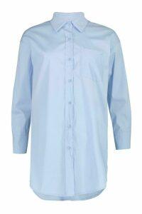 Womens Oversized Shirt - Blue - 12, Blue