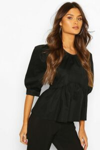 Womens Puff Sleeve Cotton Mix Blouse - Black - 14, Black