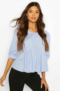 Womens Puff Sleeve Cotton Mix Blouse - Blue - 14, Blue
