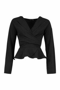 Womens Crepe Split Sleeve Wrap Top - black - 14, Black