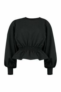 Womens Tall Extreme Balloon Sleeve Sweat Top - black - 18, Black