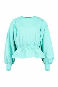 Womens Tall Extreme Balloon Sleeve Sweat Top - Blue - 14, Blue