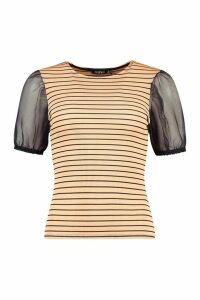 Womens Striped Rib Top With Organza Sleeves - beige - 14, Beige