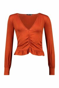 Womens Ruched Long Sleeve Crop Top - Orange - 16, Orange