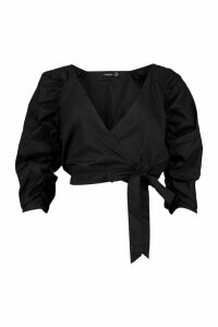 Womens Woven Puff Sleeve Wrap Front Blouse - black - 16, Black