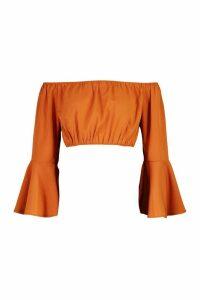 Womens Off The Shoulder Flute Sleeve Crop Top - Brown - 14, Brown