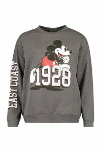 Womens Disney Mickey Mouse East Coast Slogan jumper - grey - 16, Grey