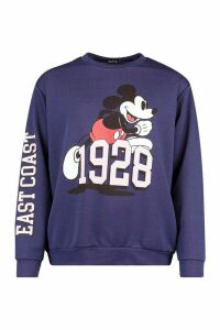 Womens Disney Mickey Mouse East Coast Slogan jumper - navy - 16, Navy