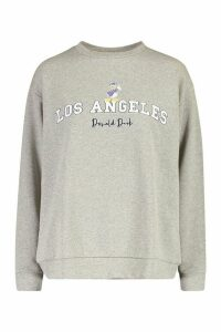 Womens Disney Donald Duck Los Angeles Jumper - Grey - 14, Grey