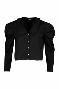 Womens Pearl Button Collar Cotton Mix Shirt - Black - 14, Black