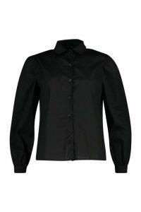 Womens Big Sleeve Cotton Mix Blouse - black - 14, Black