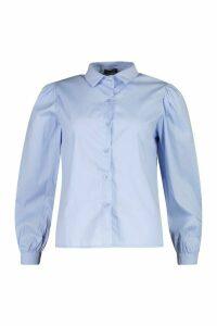 Womens Big Sleeve Cotton Mix Blouse - blue - 12, Blue