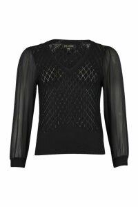 Womens Pointelle Knit Sheer Sleeve Top - Black - M/L, Black