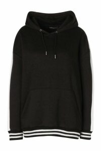 Womens Oversized Side Panel Contrast Rib Hoody - Black - 10, Black