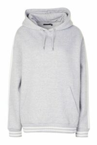 Womens Oversized Side Panel Contrast Rib Hoody - Grey - 12, Grey