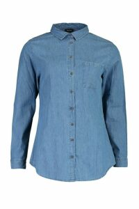 Womens Oversized Denim Shirt - blue - 16, Blue