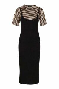 Womens Short Sleeve Stripe 2 In 1 Tshirt - Black - 14, Black