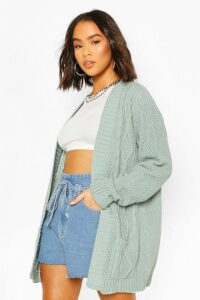 Womens Cable Boyfriend Belted Cardigan - green - M/L, Green