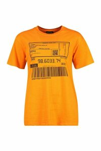 Womens Barcode Print T-Shirt - orange - M, Orange