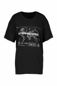 Womens International Graphic Print T-Shirt - black - M, Black