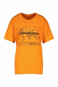 Womens International Graphic Print T-Shirt - orange - M, Orange