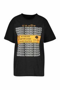 Womens Washcare Graphic Printed T-Shirt - Black - M, Black