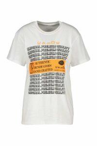 Womens Washcare Graphic Printed T-Shirt - White - M, White