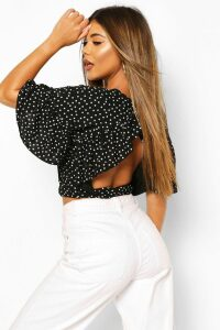 Womens Polka Dot Ruffle Open Back Tie Top - Black - 8, Black