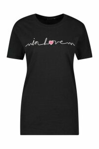 Womens In Love Printed T-Shirt - Black - M, Black