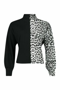 Womens Roll/Polo Neck Top In Colour Block Leopard Mix - White - 12, White