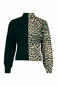 Womens Roll/Polo Neck Top In Colour Block Leopard Mix - Beige - 14, Beige