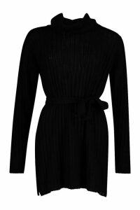 Womens Rib Knit Belted Roll Neck Jumper - black - M, Black