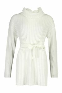Womens Rib Knit Belted Roll Neck Jumper - white - M, White