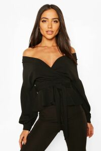 Off The Shoulder Wrap Top - black - 14, Black