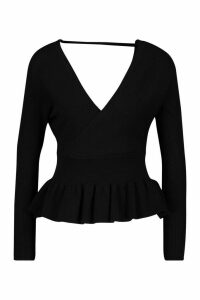 Womens Rib Knit Wrap Peplum Knitted Top - Black - M, Black