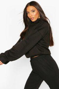 Womens Tall High Neck Zip Front Sweat Top - black - 18, Black