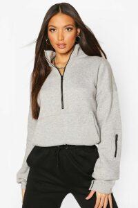 Womens Tall High Neck Zip Front Sweat Top - grey - 18, Grey