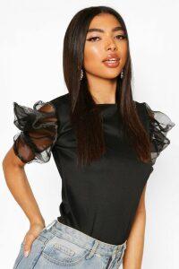 Womens Tall Organza Puff Sleeve Top - Black - 16, Black