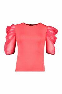 Womens Tall Organza Puff Sleeve Top - Orange - 8, Orange