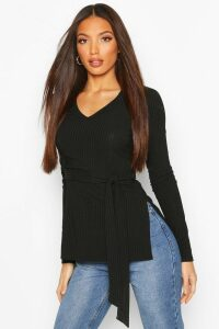 Womens Tall Belted Side Split Rib Top - black - 16, Black