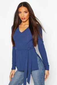 Womens Tall Belted Side Split Rib Top - Navy - 16, Navy