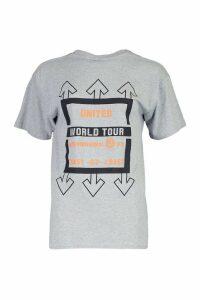Womens United Graphic Print T-Shirt - Grey - S, Grey